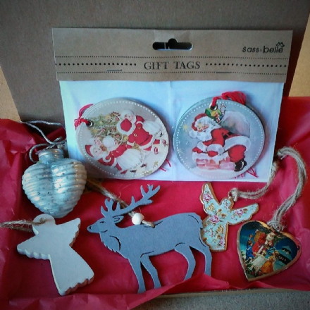 Vintage Theme Lucky Dip Christmas Decorations Box